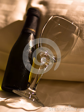 Bottle of wine on a pillow