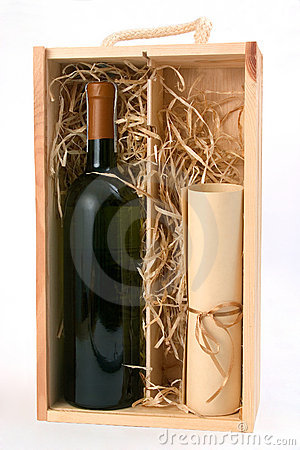 A bottle of wine and a scroll