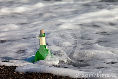 Bottle of wine in sea