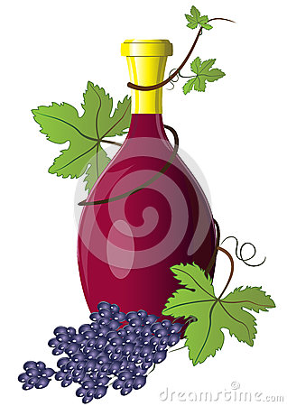 Bottle of wine twined with grape
