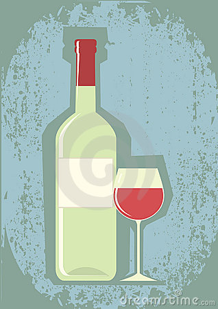 Bottle of wine and wineglass.