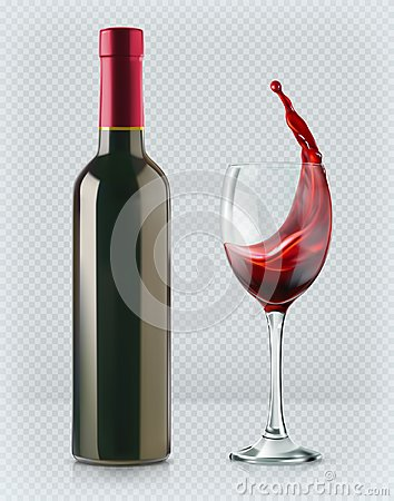 Bottle of wine and wineglass. 3d realism, vector icon with transparency Vector Illustration