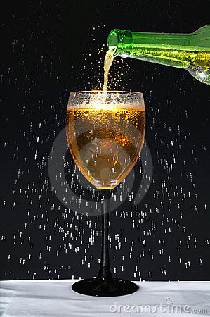 Bottle and Wineglass with Condensation