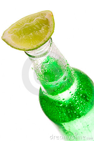 Free Bottle With Lime Royalty Free Stock Image - 6189076
