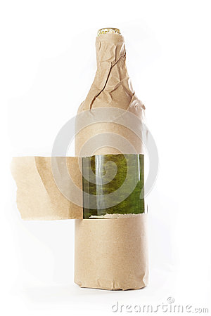 Free Bottle Wrapped In Paper Bag Royalty Free Stock Photo - 45797175