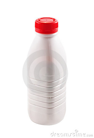 Bottle with yogurt on white