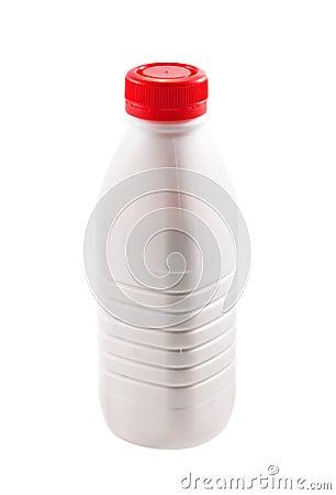 Bottle with yogurt on white