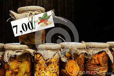 Bottled cheeses in oil vith vegetables and spices