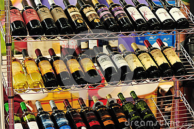 Bottled red wines on shelf Editorial Photography