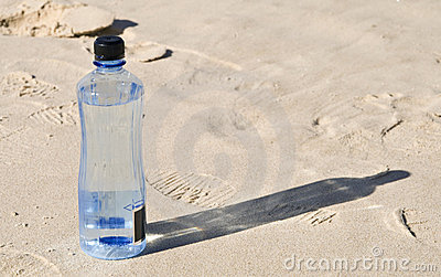 Bottled water on the beach