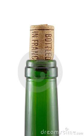 Bottleneck and cork on a white