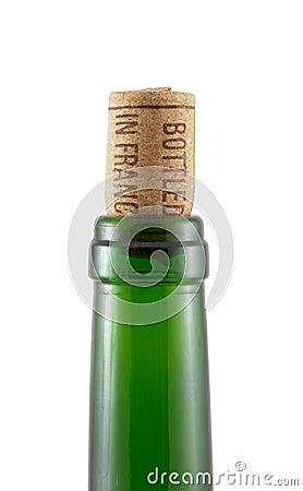 Bottleneck and cork on a white