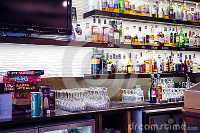 Bottles of alcohol in a finnish bar Editorial Photo