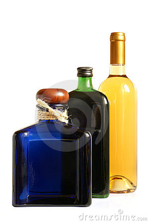 Bottles of alcoholic drinks