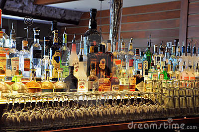 Bottles at a bar Editorial Stock Photo