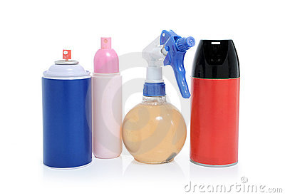 Bottles and cans of spray