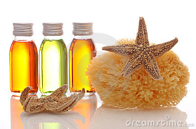 Bottles with essential oils and sponge