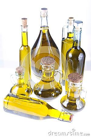 Bottles of extra virgin olive oil
