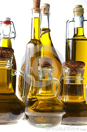 Bottles of extra virgin olive oil