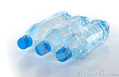 Bottles of fresh water