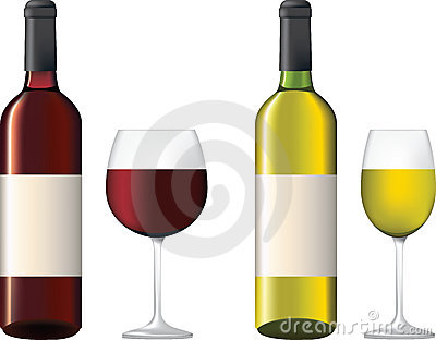 Bottles and glass of red and white wine