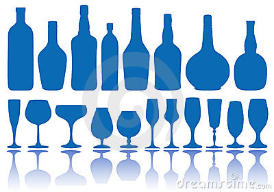 Bottles and glasses,