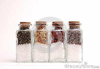 Bottles of Herbs and Sea Salts