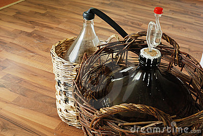 Bottles of homemade wine