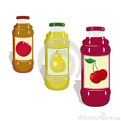 Bottles with juicy