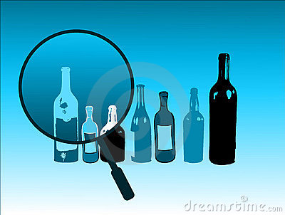 Bottles and magnifying glass