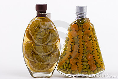 Bottles with Marinated Food