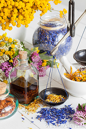 Free Bottles Of Tincture, Mortar, Jar Of Healthy Herbs And Scales Royalty Free Stock Photo - 75538015