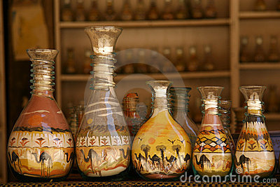 Bottles with sand