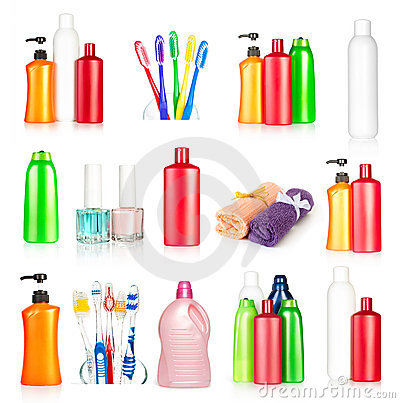 Bottles shampoo, towels, toothbrushes and nail pol