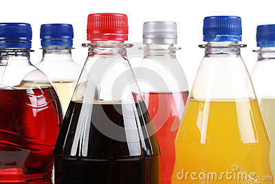 Bottles with soft drinks