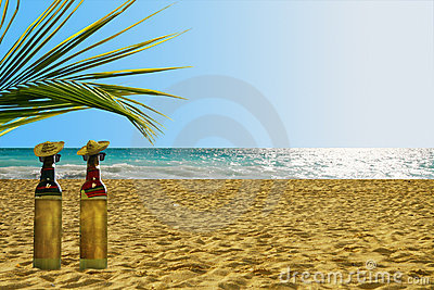 Bottles of Tequila on the beach