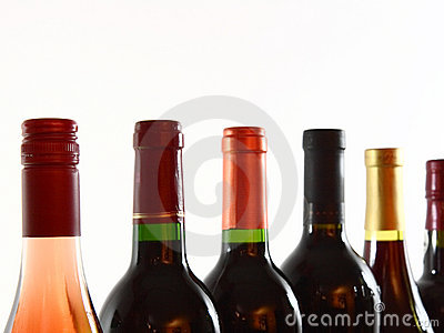 Bottles of various wines closeup