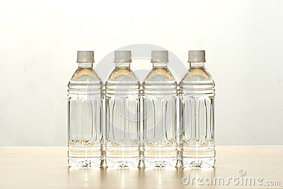 The bottles of water