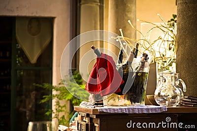 Bottles of wine in bucket