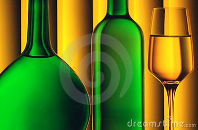 Bottles and wine glass