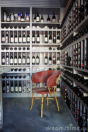 Bottles of wine on shelves in a wine store Editorial Stock Photo