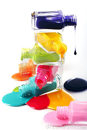 Free Bottles With Spilled Nail Polish Royalty Free Stock Photo - 23310685