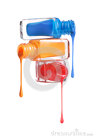 Free Bottles With Spilled Nail Polish Stock Photos - 68145523