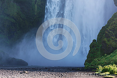 Bottom part of Skogafoss waterfall, South Iceland