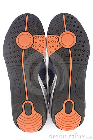 Bottom view of a pair of athletic sports shoes