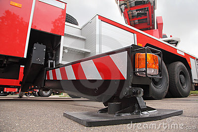Bottom view of at pull-out support of fire engine
