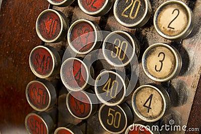 Bottoni antichi del registratore di cassa