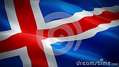 Boucle de vague de drapeau de l'Islande ondulant en vent Fond islandais réaliste de drapeau Plan rapproché de bouclage 1080p plei illustration stock