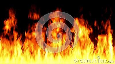 Boucle du feu de haute qualit? - flammes loopable turbulentes d'isolement sur le fond noir banque de vidéos
