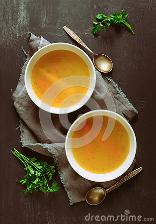 Free Bouillon Served In Two Bowls Stock Photos - 79615833